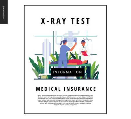 Medical tests template - x-ray test - modern flat vector concept digital illustration of x-ray procedure - a patient and doctors with a x-ray machine, medical office or laboratory