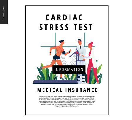 Medical tests template - cardiac stress test -modern flat vector concept digital illustration of stress test procedure -patient with sensors on treadmill and doctors carrying out procedure, laboratory