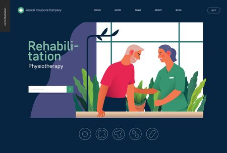 Medical insurance - rehabilitation and physiotherapy -modern flat vector concept digital illustration -physiotherapist helps patient walking using training parallel bars, medical office, laboratory Banco de Imagens - 127654139