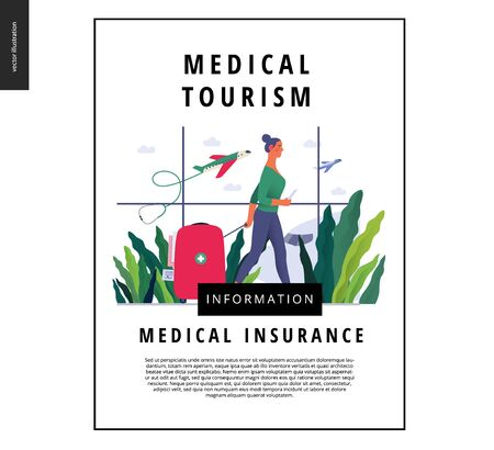 Medical tourism - medical insurance template -modern flat vector concept digital illustration - a young woman in the airport going to flight departure for the treatment abroad, medical toursm metaphor Ilustração