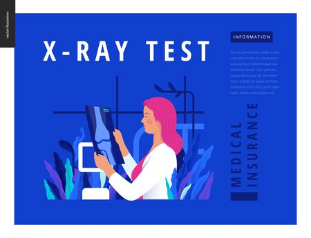 Medical tests blue template - x-ray test - modern flat vector concept digital illustration of x-ray image - a doctor looking at the radiograph , in the medical office or laboratory Ilustração