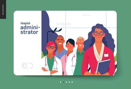Modèle d'assurance médicale - administrateur d'hôpital - illustration numérique de concept de vecteur plat moderne - une administratrice d'hôpital avec une équipe de concept de doctos, de cabinet médical ou de laboratoire