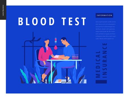Medical tests Blue template - blood test - modern flat vector concept digital illustration of blood test procedure - patient and doctor with syringe and test tubes, medical office or laboratory