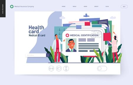Medical insurance template- medical id card, health card -modern flat vector concept digital illustration - a plastic identification card as medical records file metaphor Banco de Imagens - 127654145
