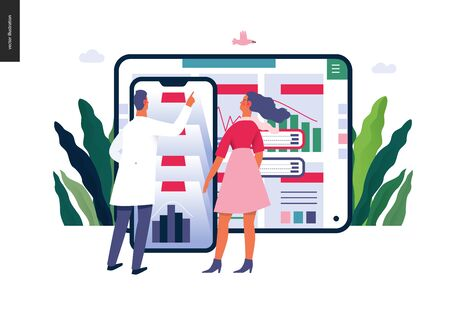 Medical reports application -medical insurance illustration -modern flat vector concept digital illustration -patient and a doctor using the medical application with reports and test results, metaphor Banco de Imagens - 127654146