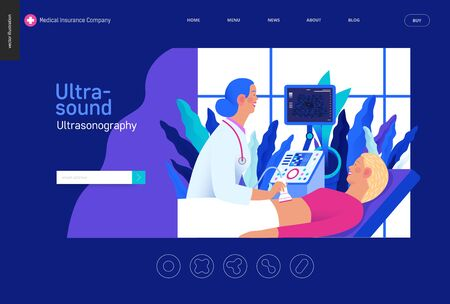 Medical tests Blue template -ultrasound - modern flat vector concept digital illustration of ultrasonography procedure -doctor examing patient pregnant woman with scanner, medical office or laboratory Banco de Imagens - 127654148