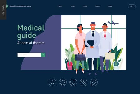 Medical insurance -medical guide -modern flat vector concept digital illustration - medical specialists standing together, team of doctors concept, medical office or laboratory Banco de Imagens - 127654152