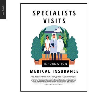 Medical insurance -specialists visit -modern flat vector concept digital illustration - medical specialists standing at the private residence entrance door Home medical service, part of insurance plan Banco de Imagens - 127654230