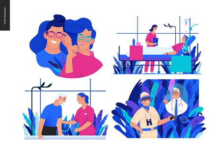 Set of medical insurance illustrations -opticians shop, hospitalization, rehabilitation physiotherapy, online doctor service -modern flat vector concept digital illustrations, insurance plan metaphor