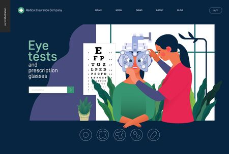 Medical tests template - eye tests and prescription glasses -modern flat vector concept digital illustration of eye test procedure -a female patient and a doctors with phoropter, ophthalmologic office