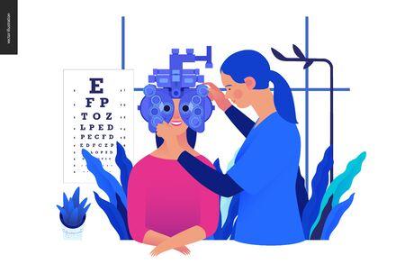 Vorlage für medizinische Tests - Sehtests und verschreibungspflichtige Brillen - modernes flaches Vektorkonzept, digitale Illustration des Sehtestverfahrens - eine Patientin und ein Arzt mit Phoropter, Augenarztpraxis