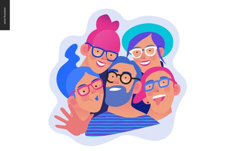 Medical insurance template - opticians shop advertising poster panel - modern flat vector concept digital illustration of young people wearing glasses portraits - commercial banner illustration Ilustração