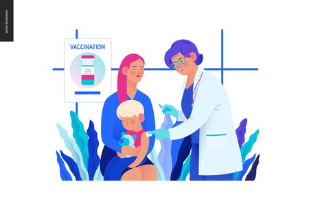 Medical insurance -childhood immunization, vaccination -modern flat vector concept digital illustration - pediatrician vaccinating a toddler sitting on his mothers knees, medical office or laboratory Banco de Imagens - 127654236