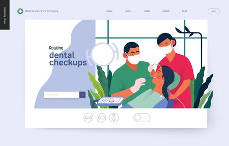 Medical insurance template -routine dental checkups - modern flat vector concept digital illustration of a dental procedure - patient, dentist checking teeth and nurse, the dental office or laboratory