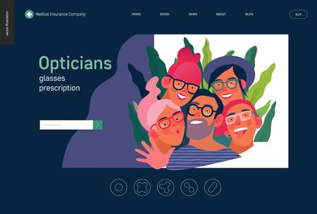 Medical insurance template - opticians shop advertising poster panel - modern flat vector concept digital illustration of young people wearing glasses portraits - commercial banner illustration Banco de Imagens - 127654239