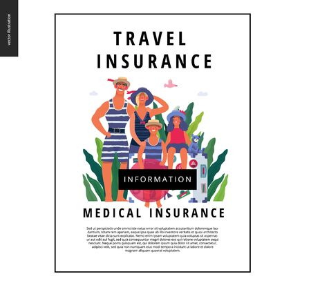 Travel insurance -medical insurance illustration -modern flat vector concept digital illustration - young family with two kids, big suitcase and swimming circle wearing vintage swimsuits at the beach