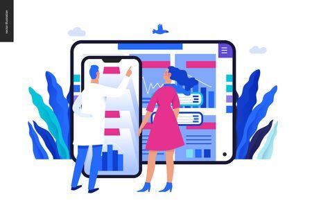 Medische rapporten toepassing - medische verzekering illustratie - moderne platte vector concept digitale afbeelding - patiënt en een arts met behulp van de medische toepassing met rapporten en testresultaten, metafoor Vector Illustratie