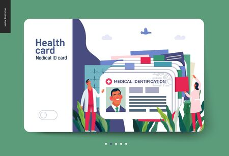 Medical insurance template- medical id card, health card -modern flat vector concept digital illustration - a plastic identification card as medical records file metaphor