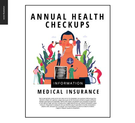 Annual health checkups -medical insurance template -modern flat vector concept digital illustration -doctor team examing male patient checking hearing, vision, heart, lungs, blood pressure, blood test
