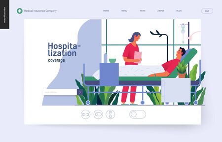 Hospitalization template -medical insurance template -modern flat vector concept digital illustration - a hospital patient in the private ward and a doctor on ward round