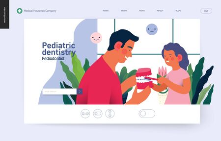 Pediatric dentistry -medical insurance web template -modern flat vector concept digital illustration -a dantist teaching a child patient to brush teeth jaw model, the dental office or laboratory