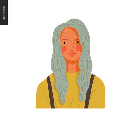 Real people portrait - hand drawn flat style vector design concept illustration of a young blond woman, face and shoulders avatar. Flat style vector icon