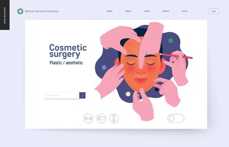 Medical insurance -cosmetic, plastic, aesthetic surgery -modern flat vector concept digital illustration -surgical cosmetic procedure metahor -female face, dotted lines, hands wearing surgical gloves