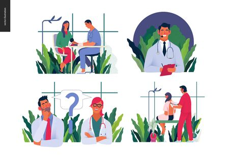 Set of medical insurance illustrations - blood pressure test, auscultation, call us 24-7, second opinion - modern flat vector concept digital illustrations, insurance plan metaphor Banco de Imagens - 128908604