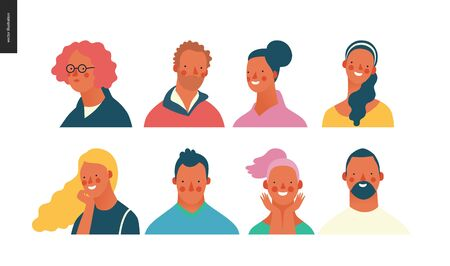 Bright people portraits set - hand drawn flat style vector design concept illustration of young men and women, male and female faces and shoulders avatars. Flat style vector icons set Ilustração