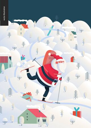Skiing Santa Claus - Christmas and New Year greeting card - modern flat vector concept illustration of cheerful Santa Claus skiing with a gift bag on the snow-covered landscape with hills, trees and houses