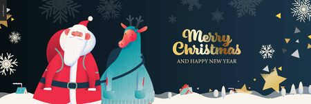 Santa Claus and deer - Merry Christmas billboard- modern flat vector concept illustration of cheerful Santa Claus and deer standing on the snow-covered landscape, stars and snow golden elements