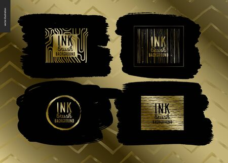 Ink Brush Background group set - abstract vector illustration. Four Ink brush strokes with rough edges, dry brush, black paint. Dirty artistic design element, gold lettering title- handmade, group set