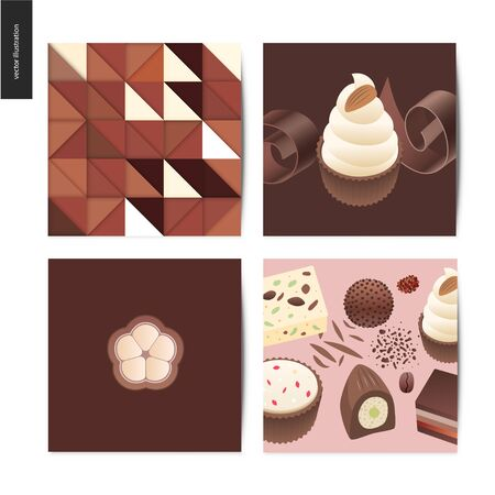 Love spring chocolate - set of cards with chocolate and cacao  イラスト・ベクター素材