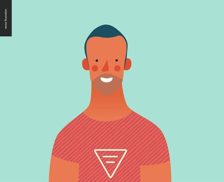 Bright people portrait - hand drawn flat style vector design concept illustration of young brunette man, face and shoulders avatar. Flat style vector icon Çizim