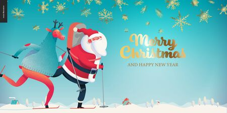 Skiing Santa Claus - Christmas billboard - modern flat vector concept illustration of cheerful Santa Claus and a deer wearing a sweater skiing on snow-covered landscape, stars and snow golden elements