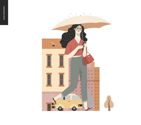 Rain -walking girl -modern flat vector concept illustration of a young brunette woman wearing pants, with umbrella and phone, walking in the rain in the street, in front of city houses and cars.