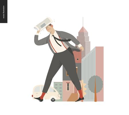 Rain - running businessman -modern flat vector concept illustration of an adult man wearing suit and tie, with a newspaper, running under the rain in the street, in front of city houses and cars.