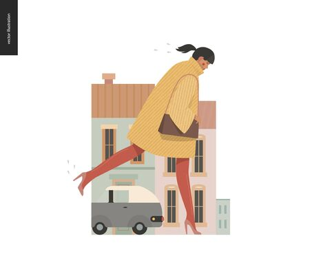 Rain - running girl -modern flat vector concept illustration of a young woman wearing yellow coat, red tights and high heels, running under the rain in the street, in front of of city houses and cars.