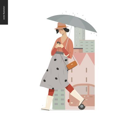 Rain -walking girl -modern flat vector concept illustration of a young woman wearing rubber boots, hat and long skirt, with umbrella and phone, walking in the rain in the street, city houses and cars. Ilustração