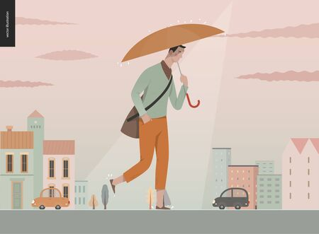 Rain - walking young man -modern flat vector concept illustration of a young man holding an umbrella, walking under the rain in the street, in front of city houses and cars. Banco de Imagens - 129793680