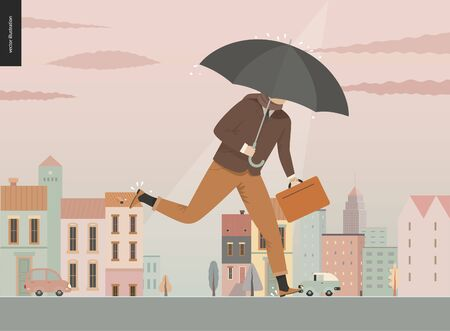 Rain - running businessman -modern flat vector concept illustration of an adult man wearing suit, with an umbrella and suitcase, running under the rain in the street, in front of city houses and cars.