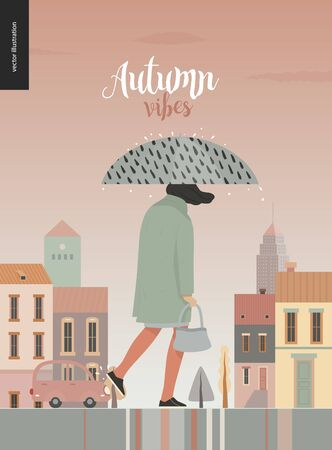 Rain - walking girl -modern flat vector concept illustration of a young woman wearing a coat, with umbrella, walking in the rain in the street, in front of city houses and cars.