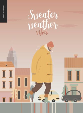 Rain - walking man -modern flat vector concept illustration of a an adult bearded man wearing a coat, a wool cap and boots, walking under the rain in the street, in front of city houses and cars.