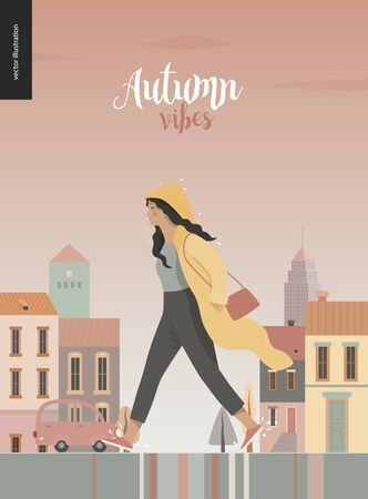 Rain - walking girl wearing raincoat -modern flat vector concept illustration of a young brunette woman in yellow waterproof, walking in the rain in the street, in front of city houses and cars.