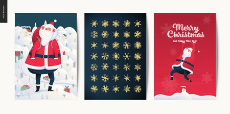 Merry Christmas and Happy New Year greeting cards set - modern flat vector concept illustrations of Santa Claus and Winter Holiday decoration and golden elements, snow and stars