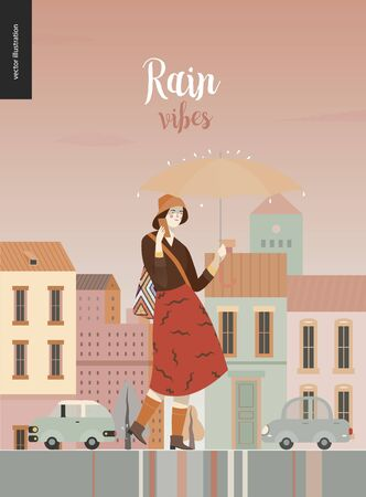 Rain - walking girl -modern flat vector concept illustration of a young woman wearing skirt and hat, with umbrella, phone, walking in the rain in the street, in front of city houses and cars.