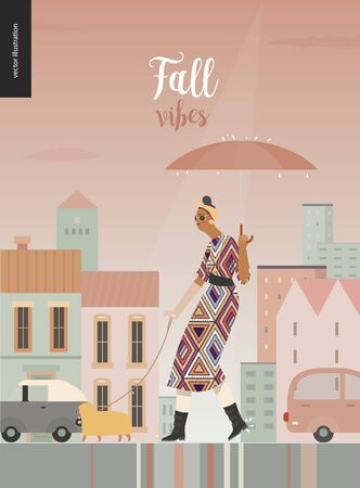 Rain -walking woman with a dog -modern flat vector concept illustration of a woman with umbrella, walking in the rain in the street with a dog wearing raincoat, city houses and cars.