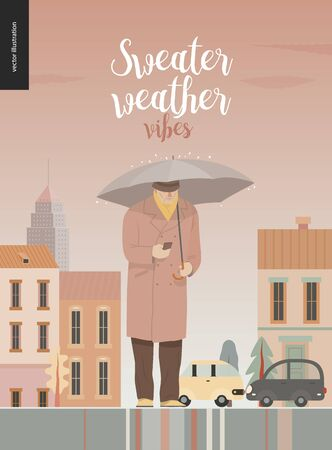 Rain - synding man -modern flat vector concept illustration of senior man wearing a coat and hat, using a phone standing with an umbrella under the rain in the street, in front of city houses and cars