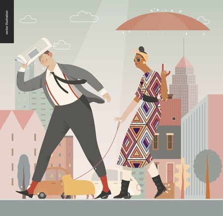 Rain -walking people -modern flat vector concept illustration of people with umbrella, walking or standing in the rain in the street, city houses and cars. Иллюстрация