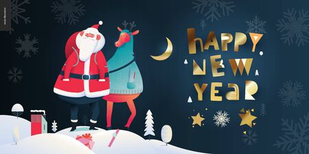 Santa Claus and deer - Happy New Year billboard- modern flat vector concept illustration of cheerful Santa Claus and deer standing on the snow-covered landscape, moon, stars and snow golden elements